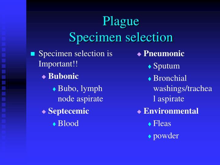 Specimen selection is Important!!