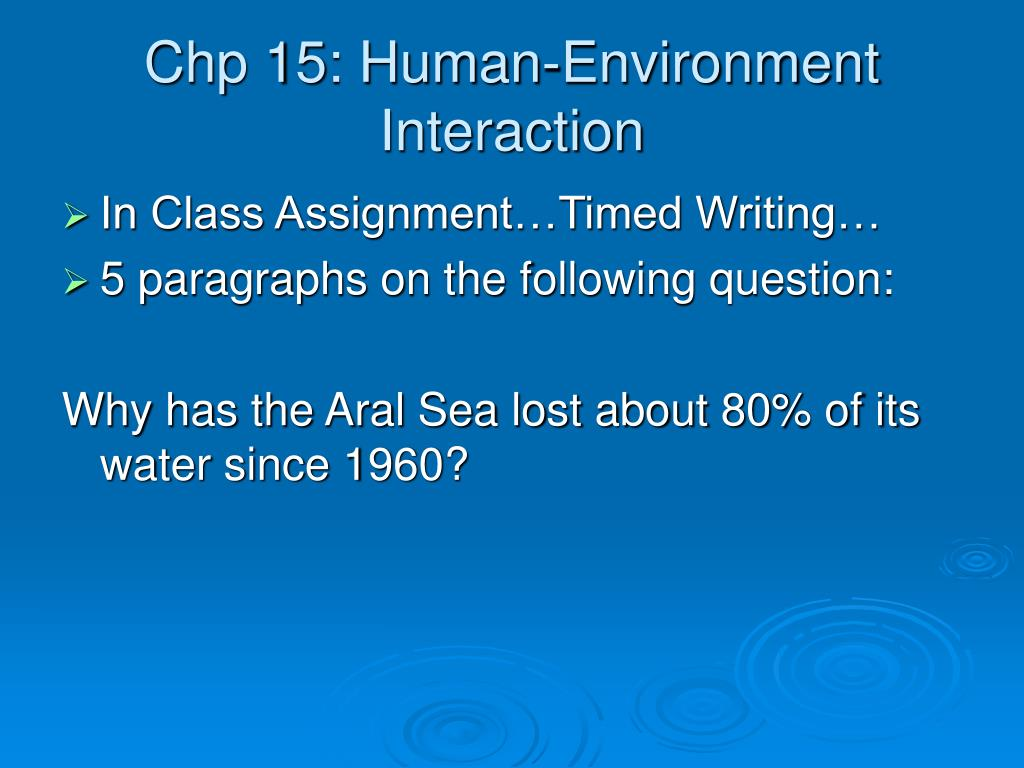 Chp 15: Human-Environment Interaction