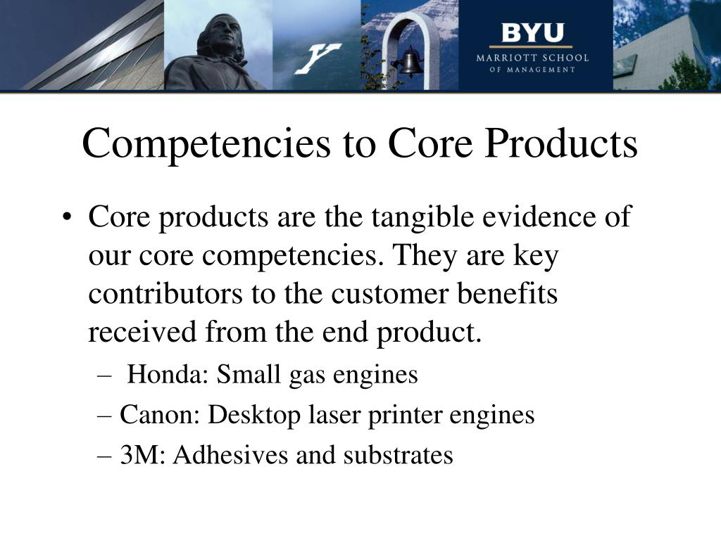 Competencies to Core Products