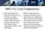 sbu s vs core competencies