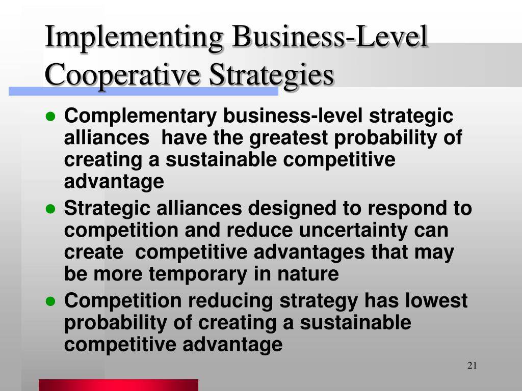 Implementing Business-Level Cooperative Strategies