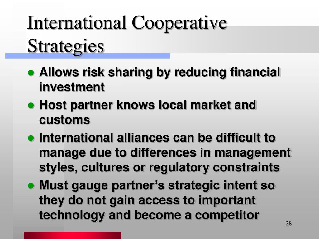 International Cooperative Strategies