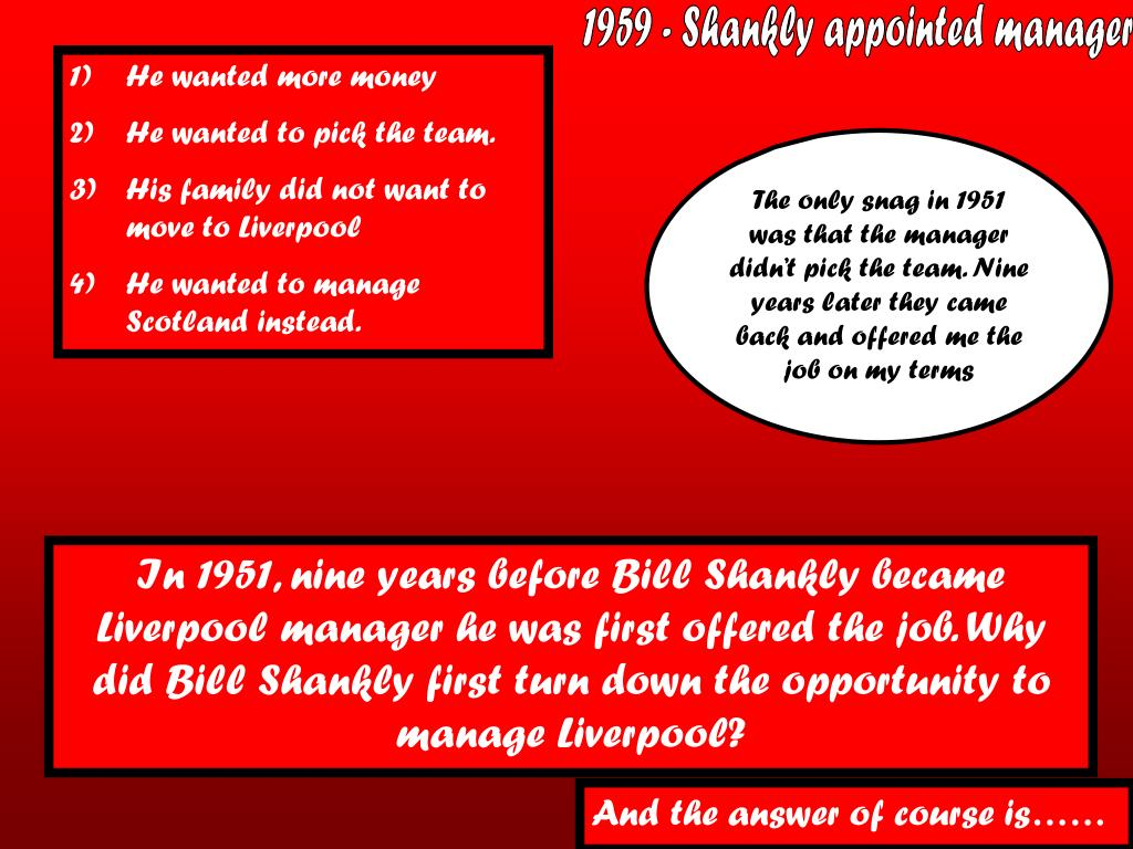 1959 - Shankly appointed manager