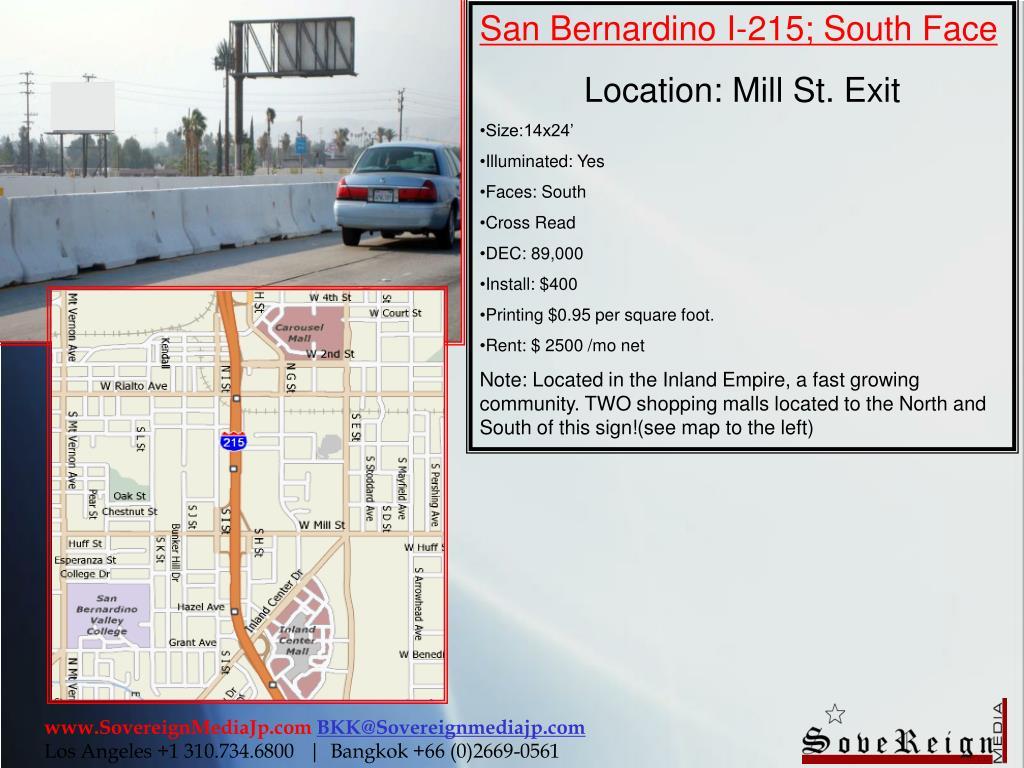 San Bernardino I-215; South Face