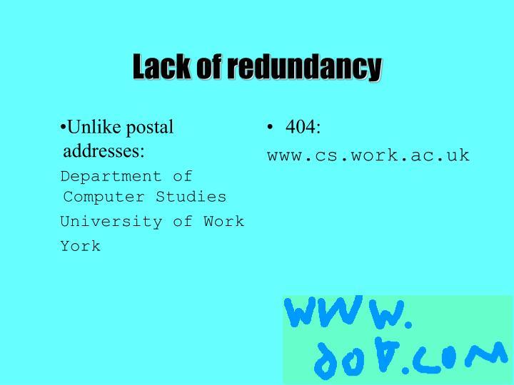 Unlike postal addresses: