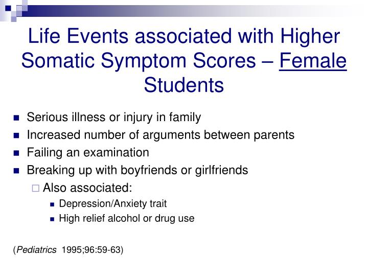 Life Events associated with Higher Somatic Symptom Scores –