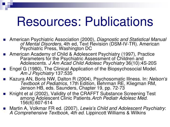 Resources: Publications