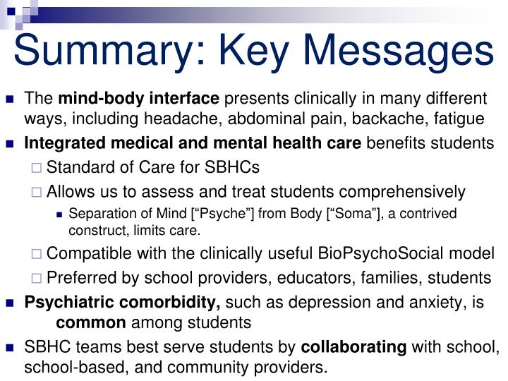 Summary: Key Messages
