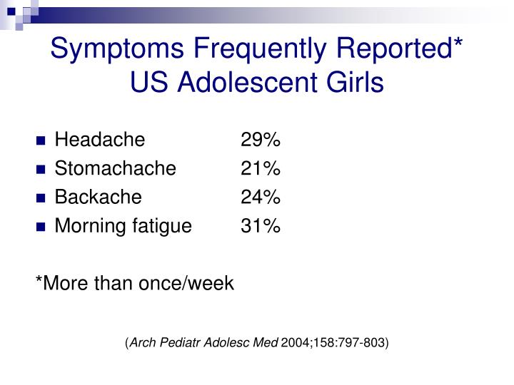 Symptoms Frequently Reported