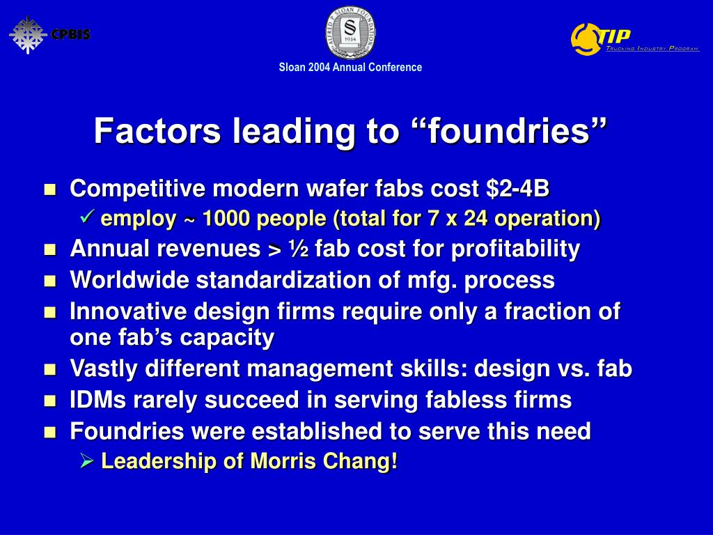 """Factors leading to """"foundries"""""""