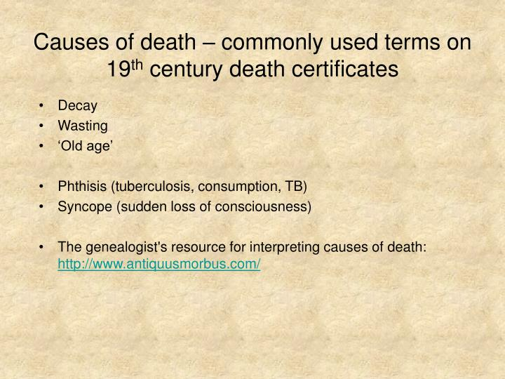 Causes of death – commonly used terms on 19