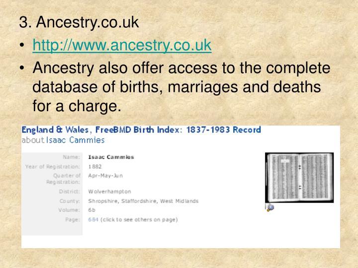 3. Ancestry.co.uk