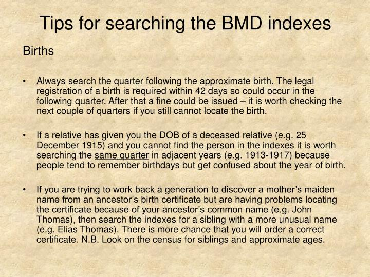 Tips for searching the BMD indexes