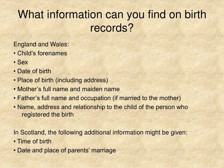 What information can you find on birth records?