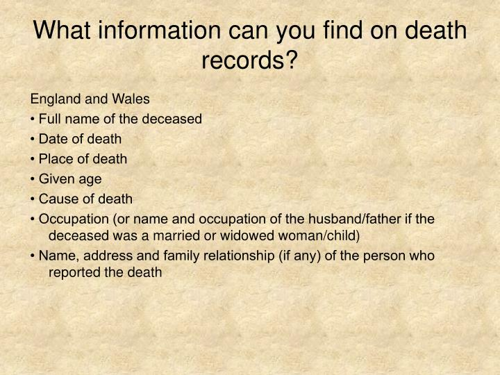What information can you find on death records?