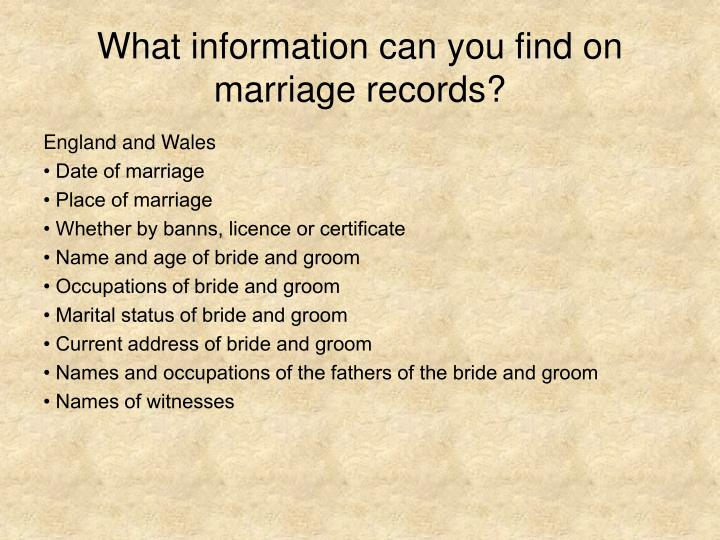 What information can you find on marriage records?