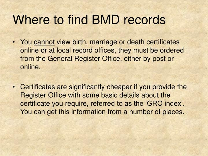 Where to find BMD records