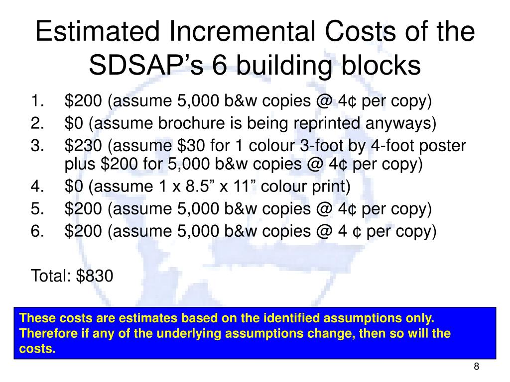 Estimated Incremental Costs of the SDSAP's 6 building blocks