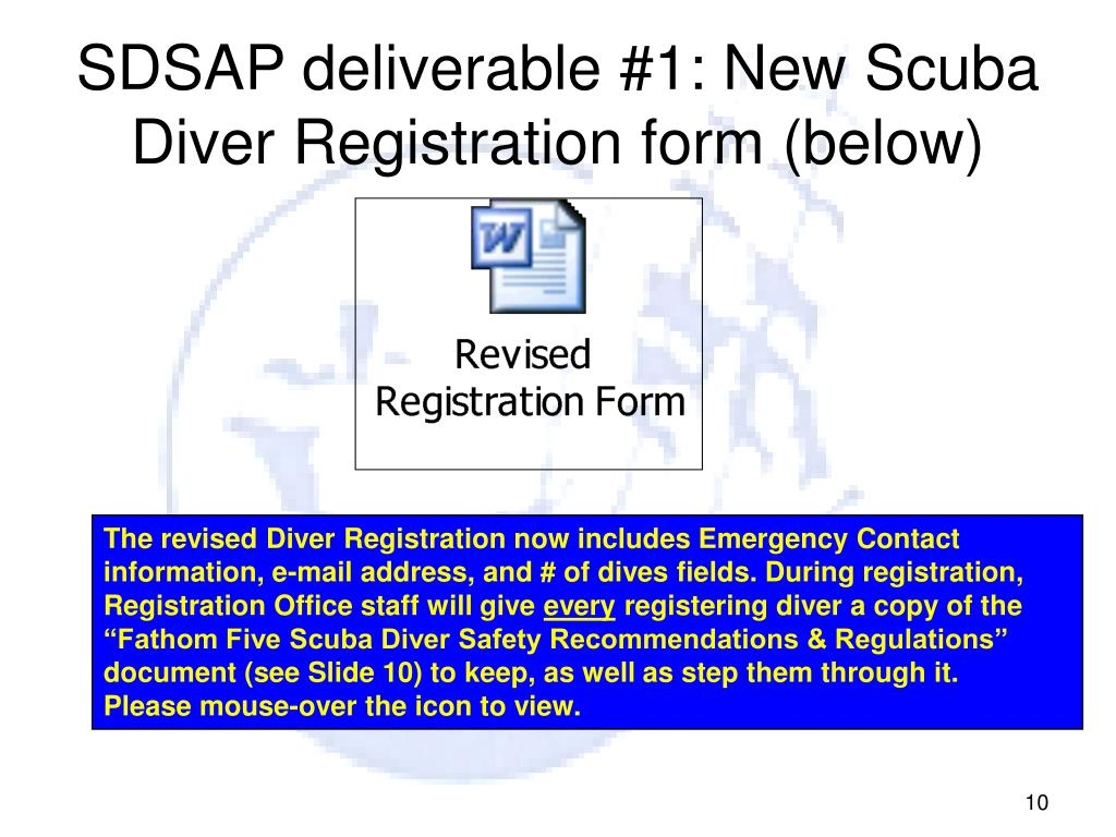 SDSAP deliverable #1: New Scuba Diver Registration form (below)