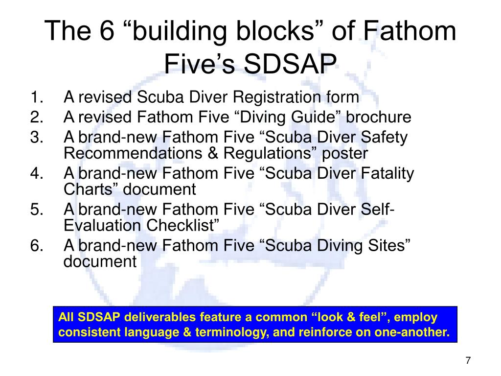 "The 6 ""building blocks"" of Fathom Five's SDSAP"
