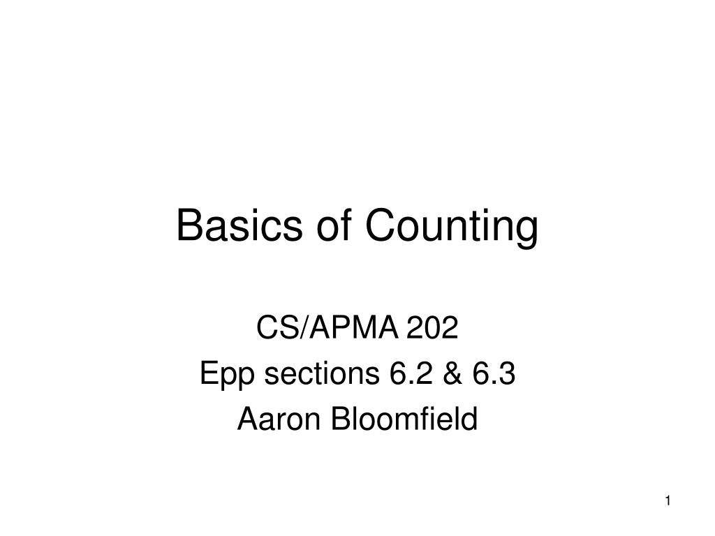 Basics of Counting