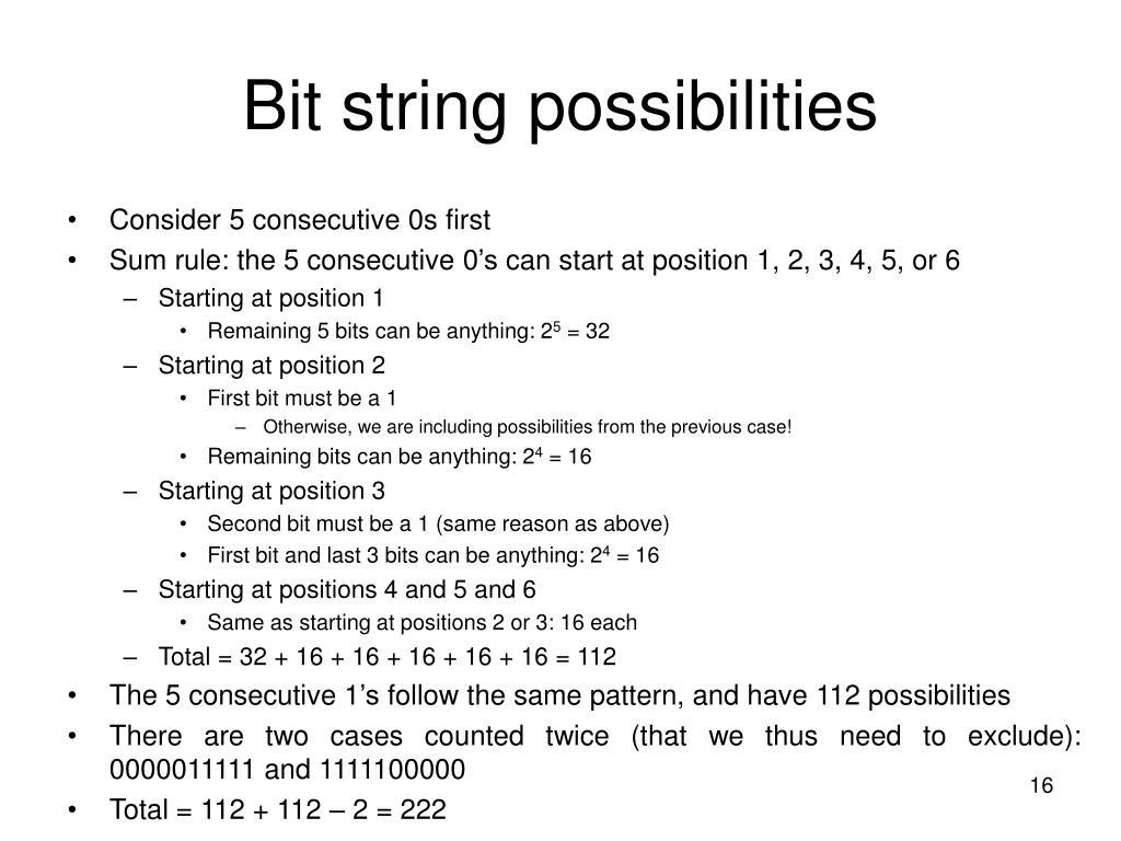 Bit string possibilities