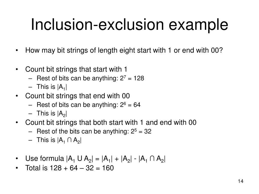 Inclusion-exclusion example