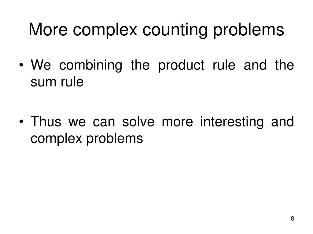 More complex counting problems
