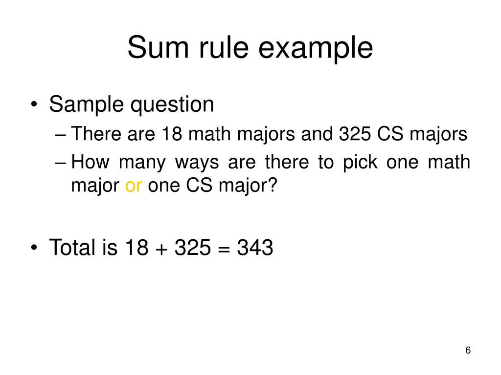 Sum rule example