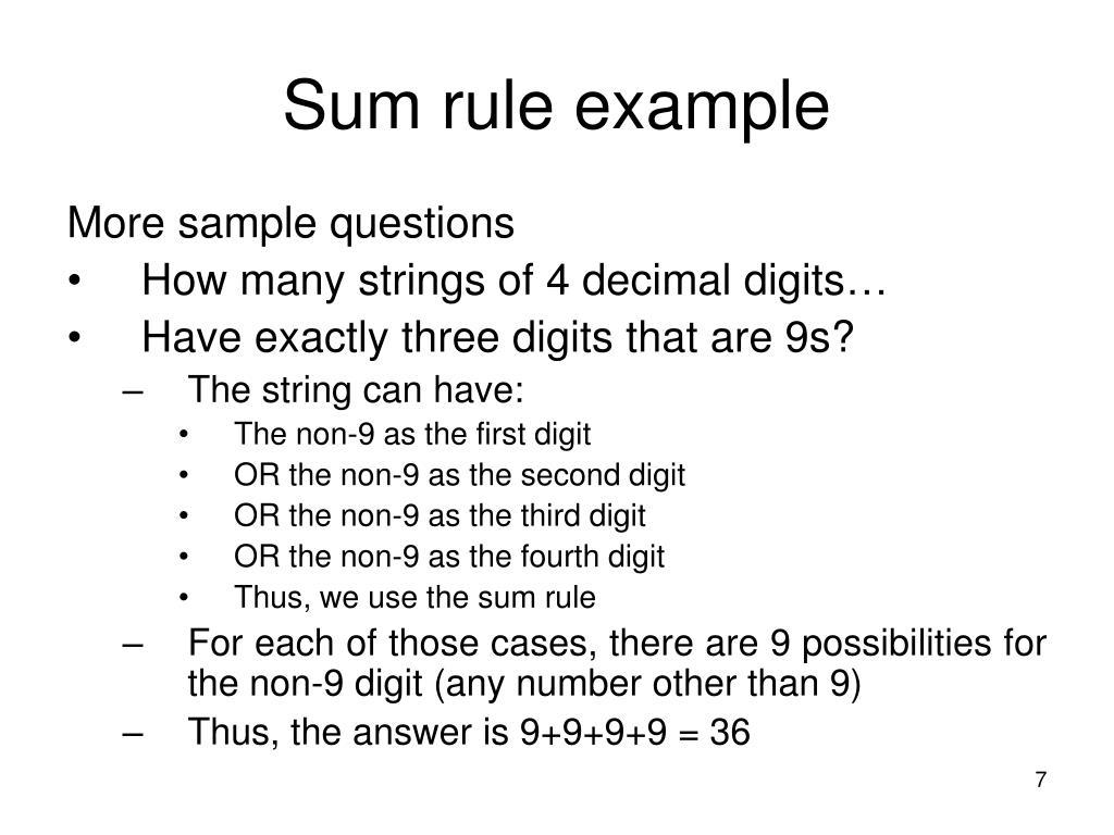 Sum rule example