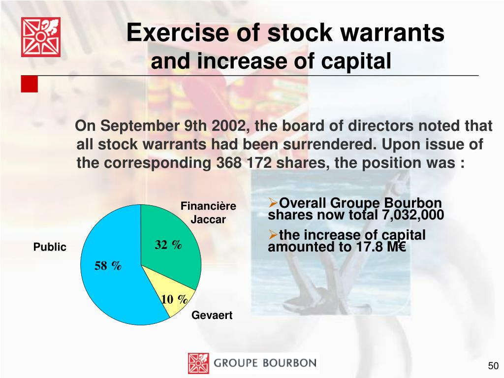 Exercise of stock warrants