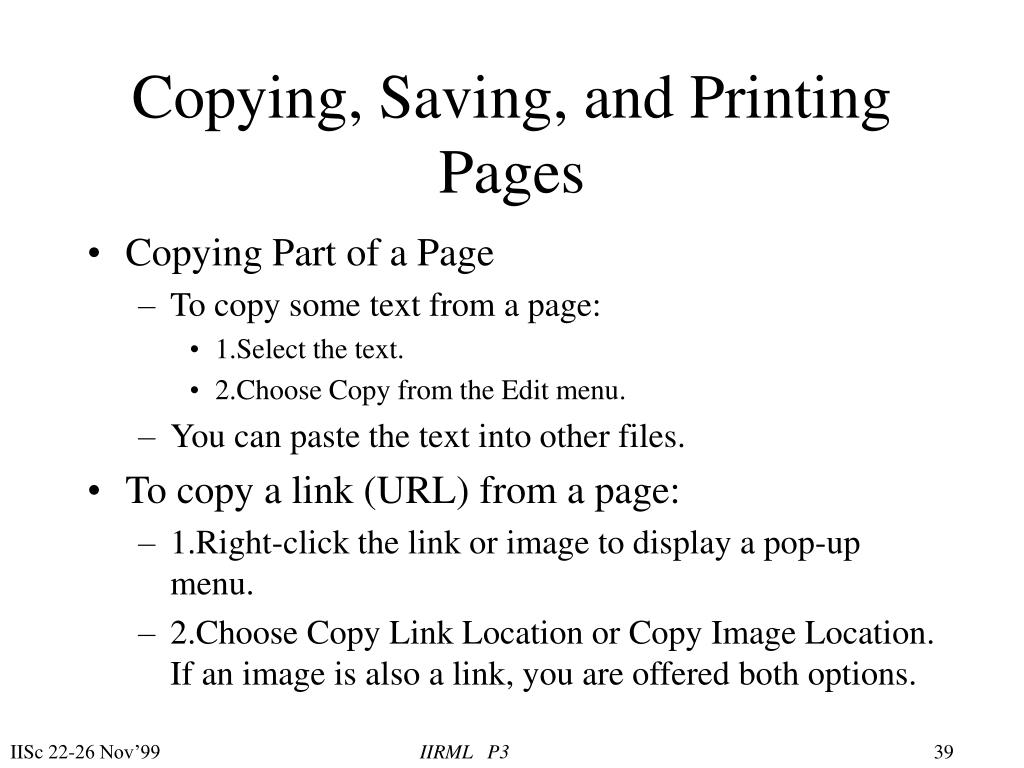 Copying, Saving, and Printing Pages