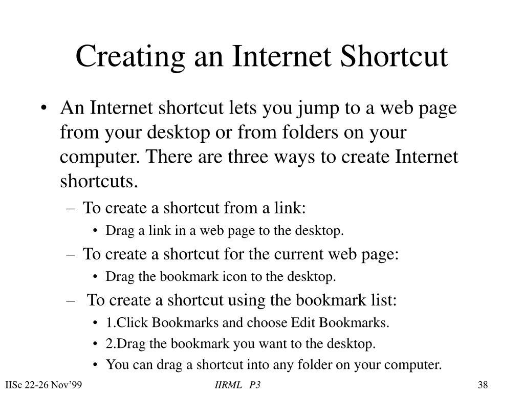 Creating an Internet Shortcut