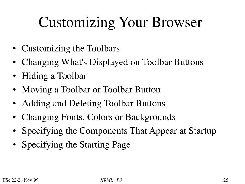 Customizing Your Browser
