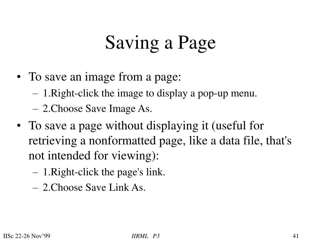Saving a Page
