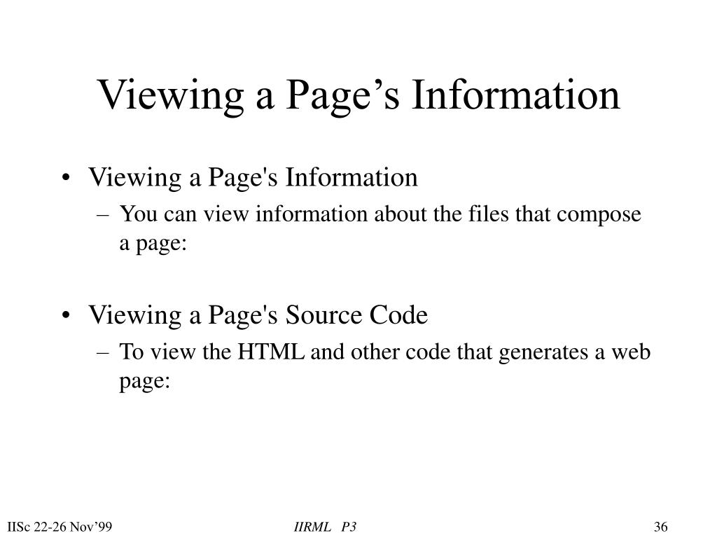 Viewing a Page's Information