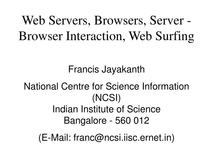 Web servers browsers server browser interaction web surfing