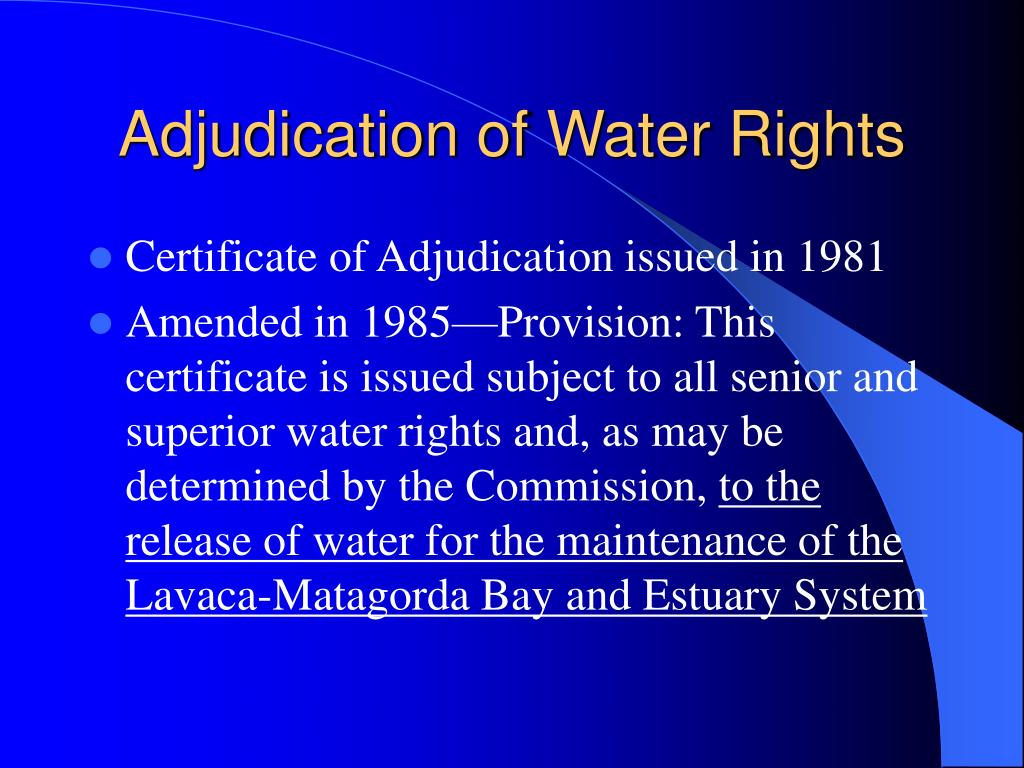 Adjudication of Water Rights