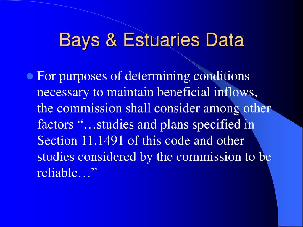 Bays & Estuaries Data