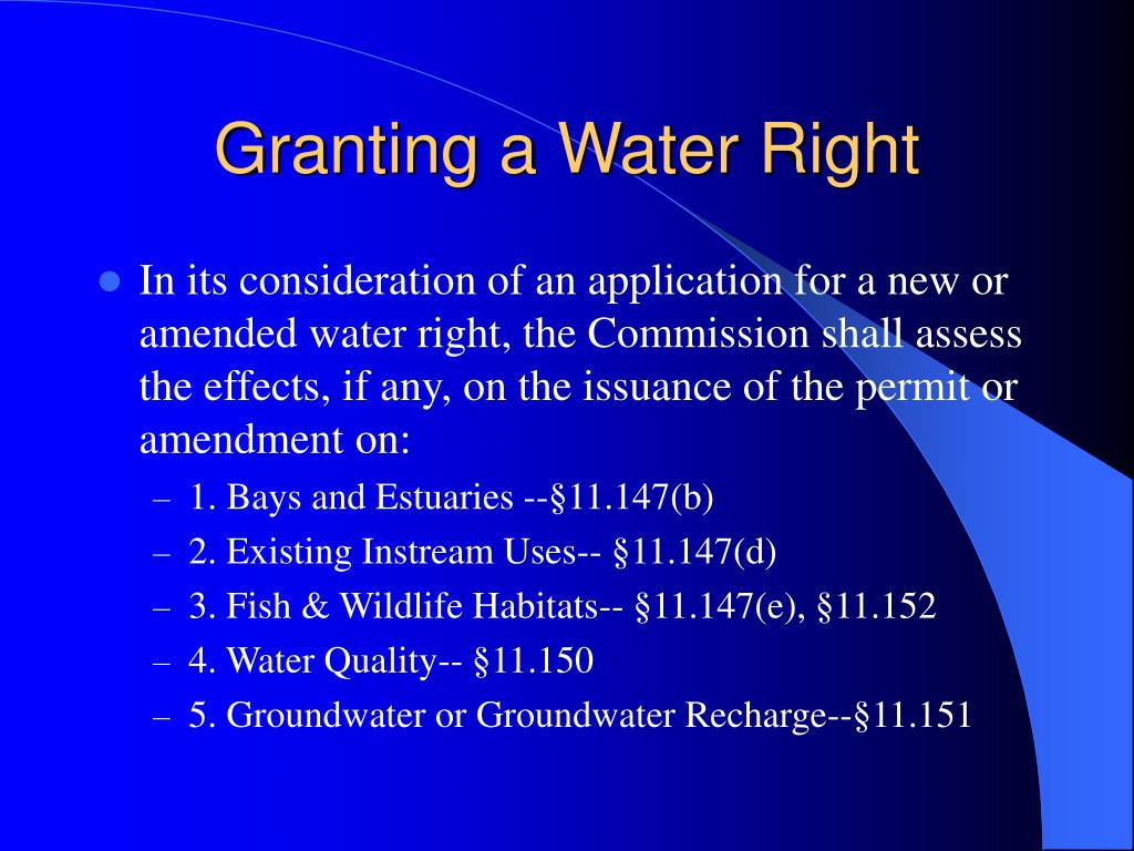 Granting a Water Right