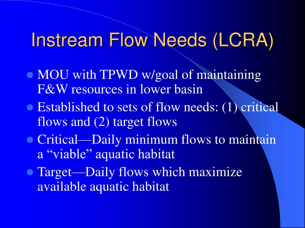 Instream Flow Needs (LCRA)