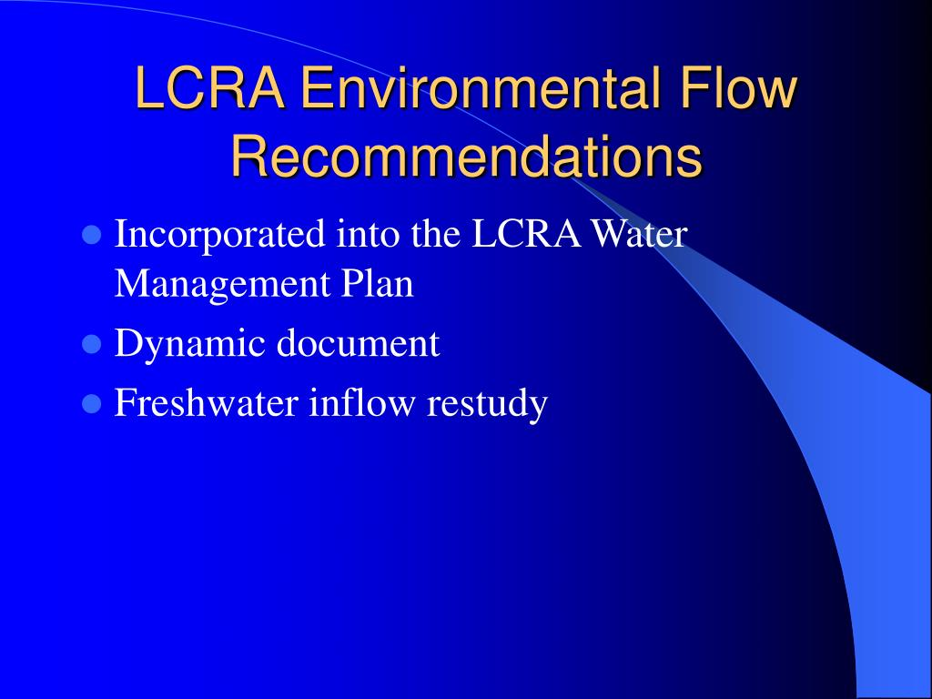 LCRA Environmental Flow Recommendations