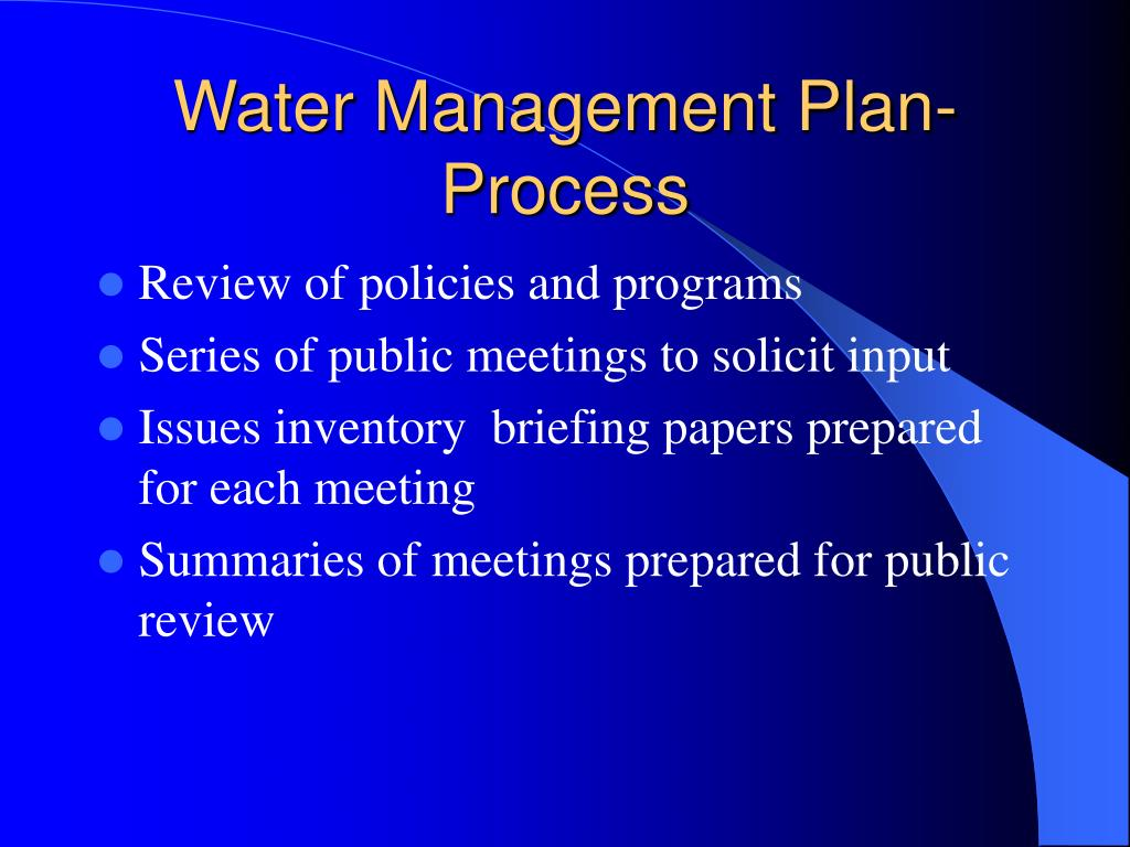 Water Management Plan-Process