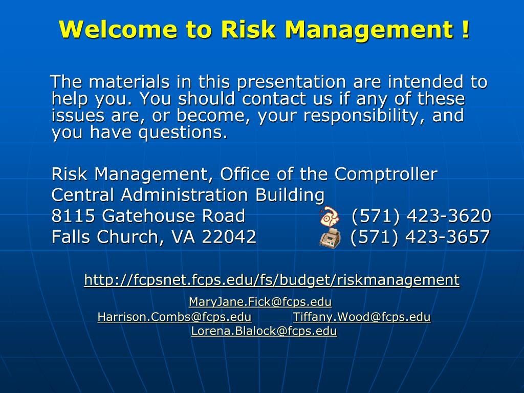 Welcome to Risk Management !
