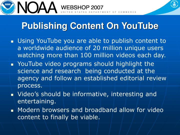 Publishing content on youtube