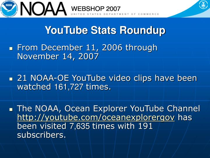 YouTube Stats Roundup