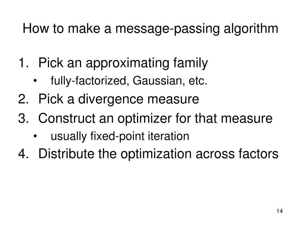 How to make a message-passing algorithm