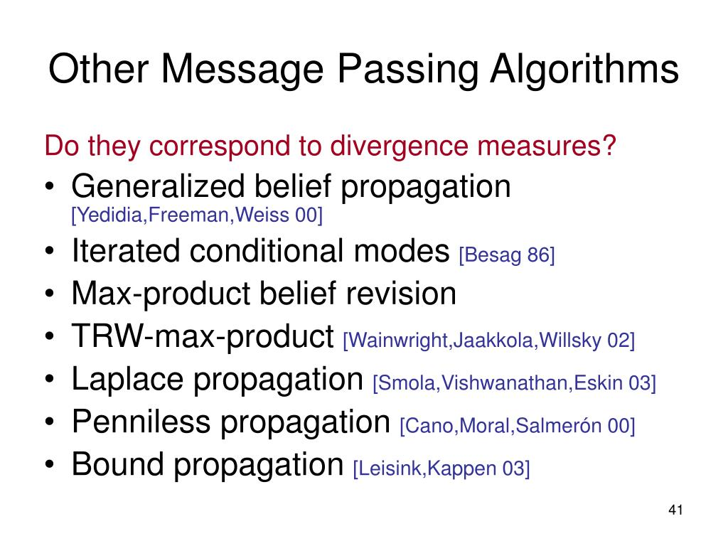 Other Message Passing Algorithms