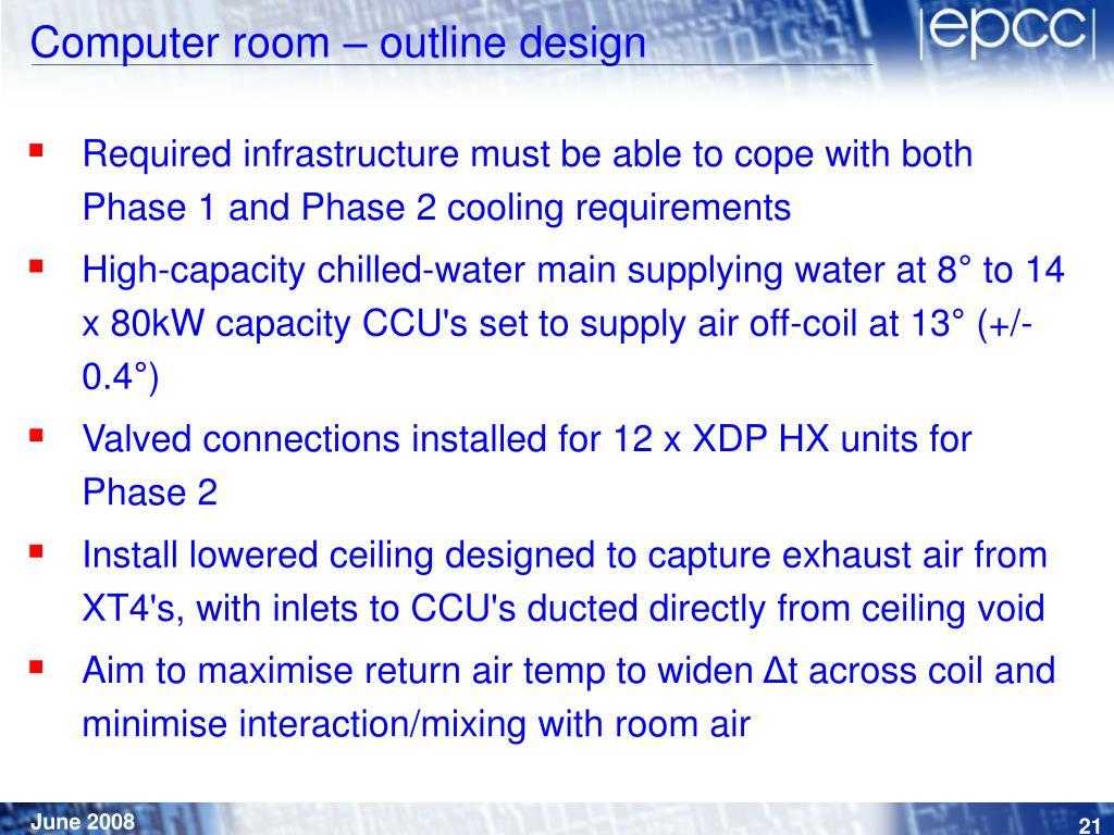 Computer room – outline design