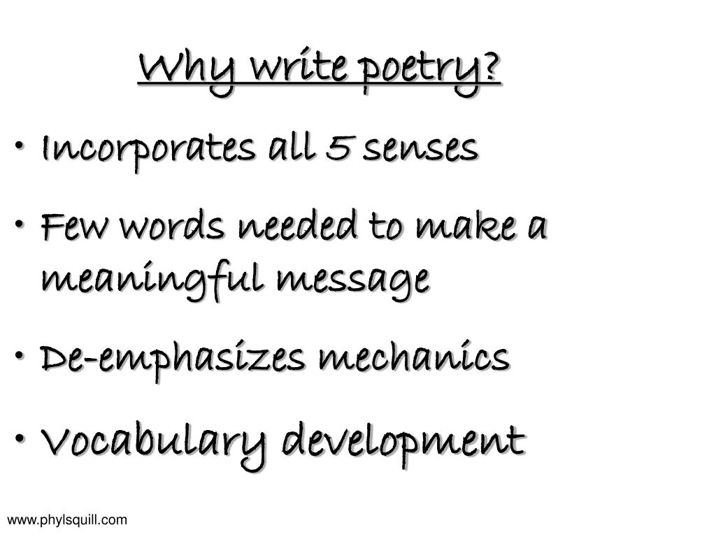 Why write poetry?